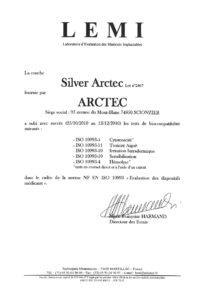 ARCTEC-Certificat-biocompatibilite-Silver